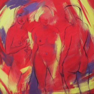 3 figuren in rood