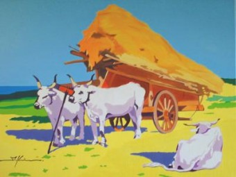 three oxen and haycart