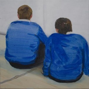 Two blue boys sitting