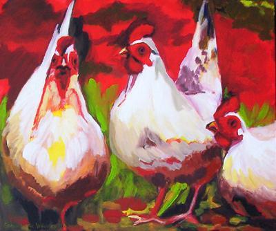 schilderij glas kippen