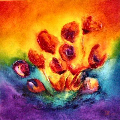 Jolan van elk bloemen schilderijen olieverf en acryl for Schilderijen van bloemen