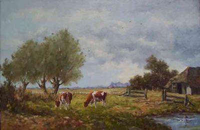 Harry van Dam - landschap met knotwilgen en vee -0531
